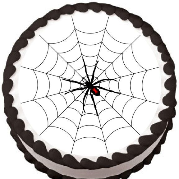 Spider on Round Web Halloween Edible Cake Topper | My Party Helpers | http://mypartyhelpers.com/products/spider-on-round-web-halloween-edible-cake-topper