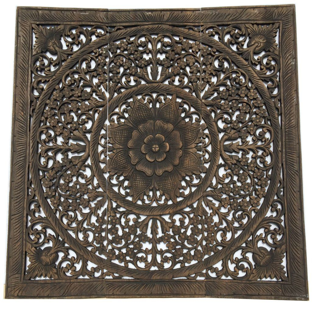 Elegant Wood Carved Wall Plaque. Wood Carved Floral Wall Art. Bali Home  Decor.