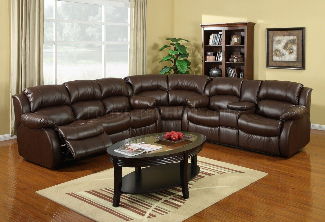 8002 Reclining Sectional Sofa in Brown Bonded Leather & Leather Reclining Sectional Sofa Gztzyzc.com | leather_recliners ... islam-shia.org