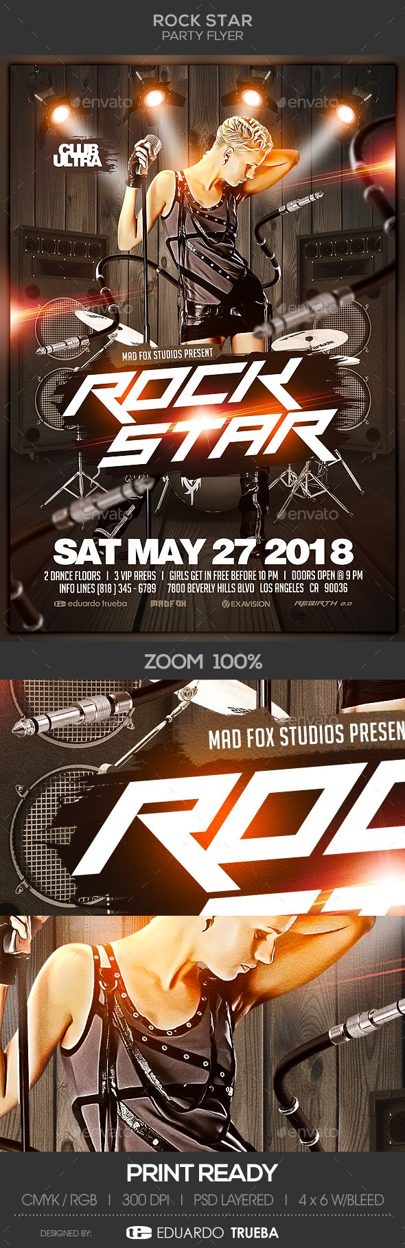 rock star party flyer template all text is editable flyer size 4