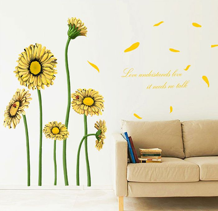 sunflower water resistant removable wall decor   flower stencil