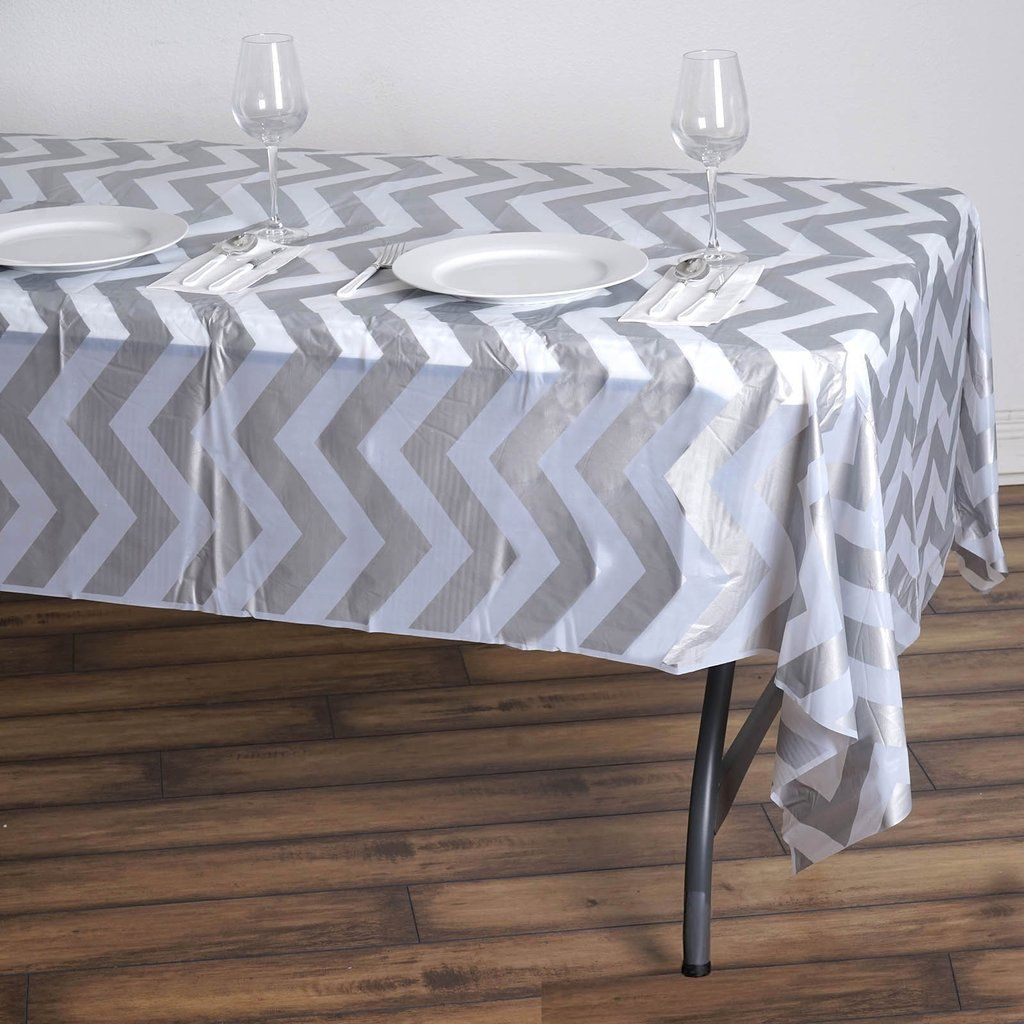 54 X 108 Silver 10 Mil Thick Chevron Waterproof Tablecloth Pvc Rectangle Disposable Tablecloth In 2020 Plastic Tables Plastic Table Covers Vinyl Tablecloth