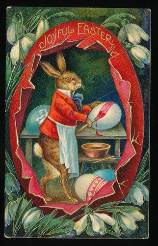 EASTER DRESSED RABBIT in APRON painting EGGS embossed postcard-ccc381
