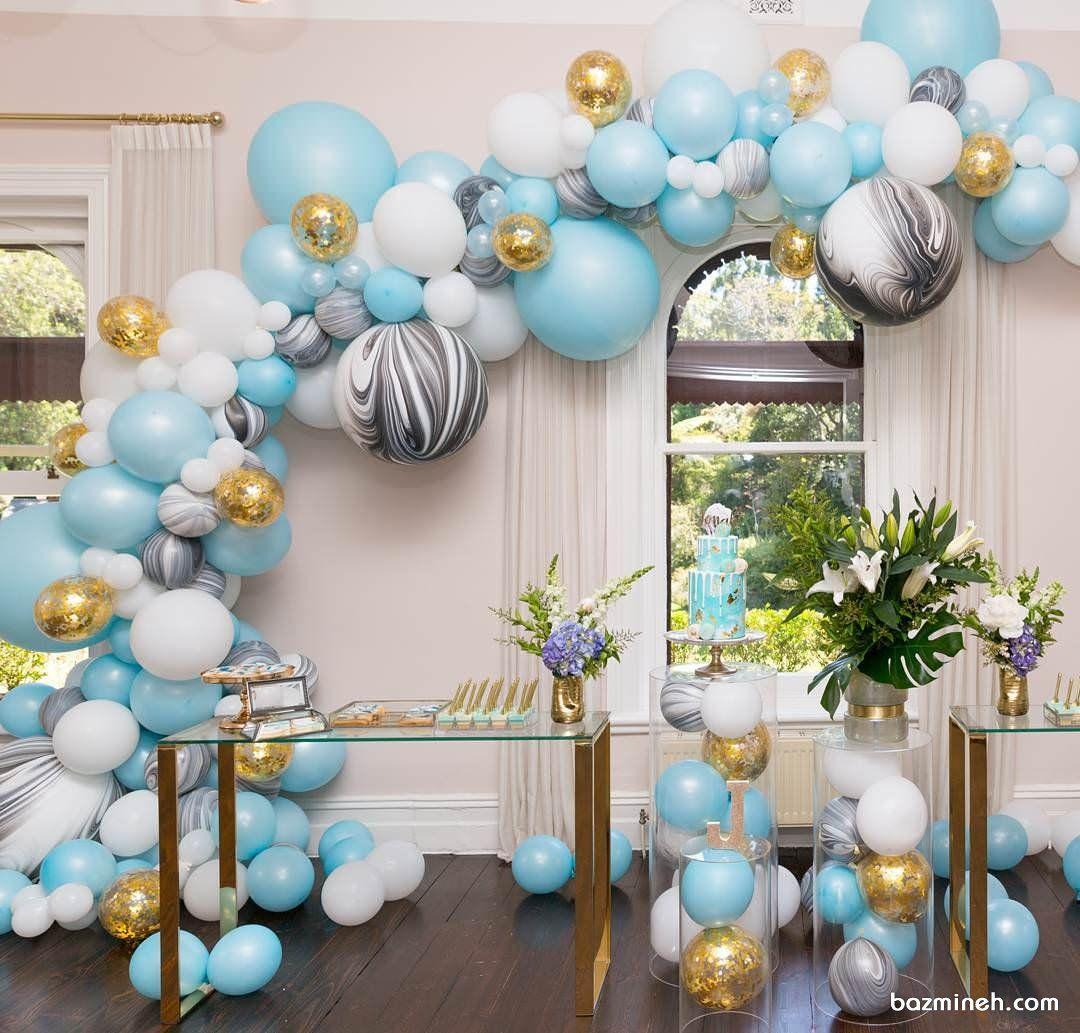 دکوراسیون و بادکنک آرایی جشن تولد بزرگسال با تم سفید آبی طوسی و طلایی Balloons Balloon Decorations Party Balloons