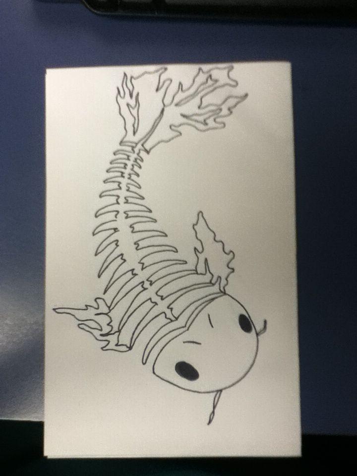 skeleton koi fish tattoo idea tattoos pinterest koi fish tattoo fish tattoos and koi. Black Bedroom Furniture Sets. Home Design Ideas