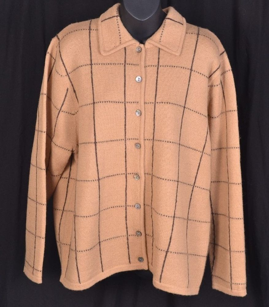 Karen Scott 100% Wool Brown Sweater Abalone Shell Button Up ...