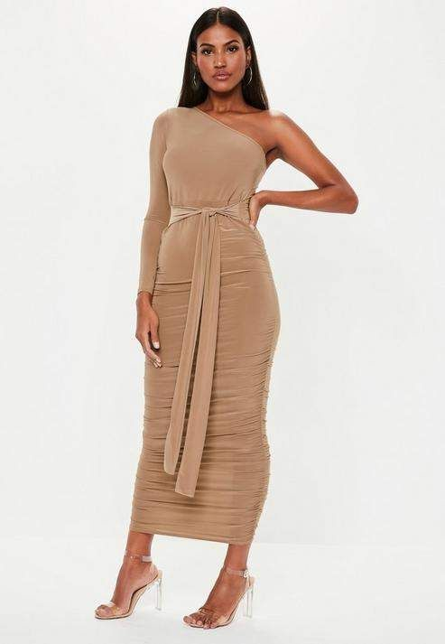62ecc65dfa34a8 Missguided Camel One Shoulder Slinky Bodycon Ruched Midaxi Dress in ...