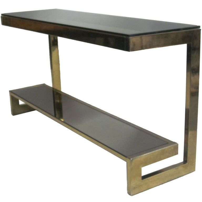 French Mid-Century Modern Double Level Brass Console / Sofa Table, Maison  Janse |