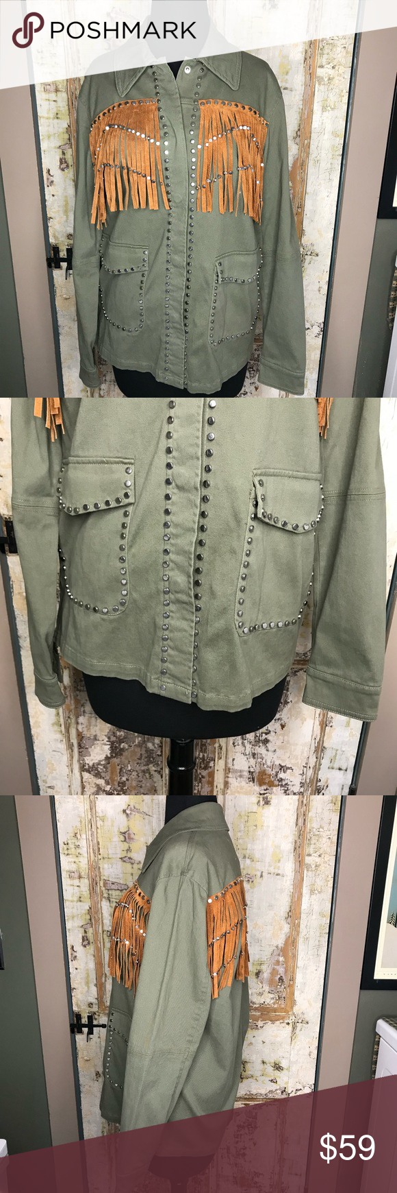 New Zara Outerwear Fringe Studded Army Jacket Army Jacket Military Jacket Green Jackets [ 1740 x 580 Pixel ]