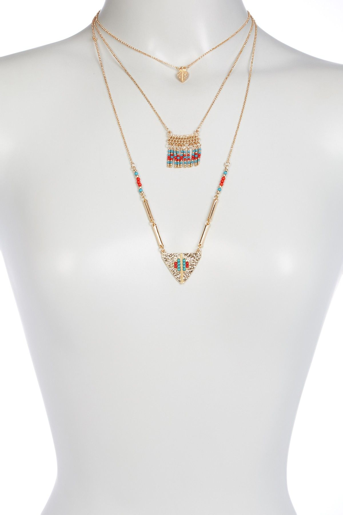 Leaf Charm, Bead Fringe, & Textured Triangle Pendant 3-Piece Necklace Set
