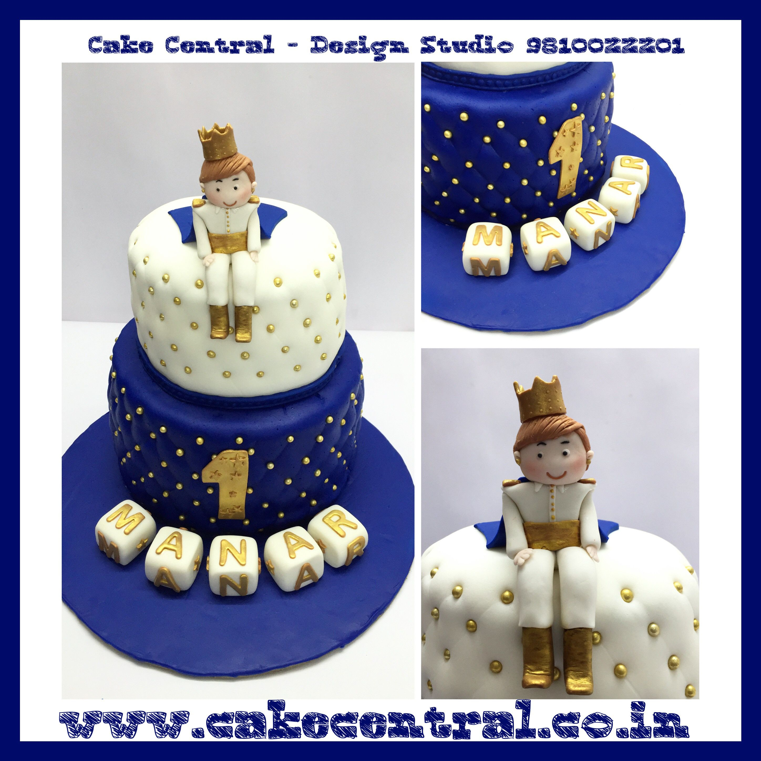 Blue Golden Royal Prince Cake For 1st Birthday By Cake Central
