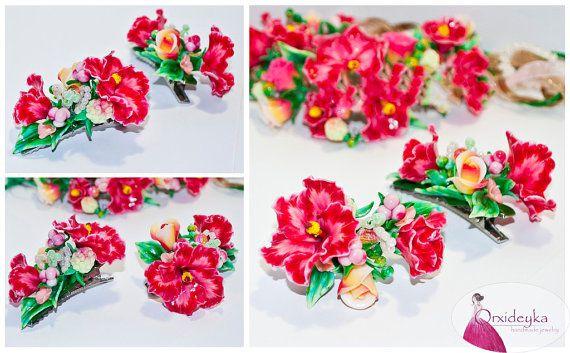 purple hibiscus Mallow Handmade Jewelry Polymer by OrxideykaStudio