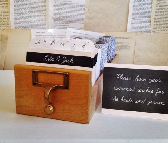 Wedding Guest Book Library Card Catalog Personalized By Cakepaper 75 00 Wishes For The Bride Wedding Guest Book Library Card Catalog
