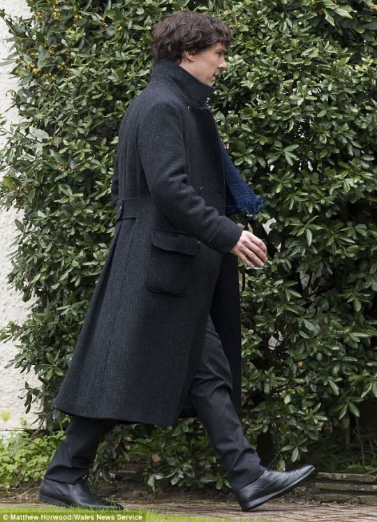 Benedict filming Sherlock today in Cardiff
