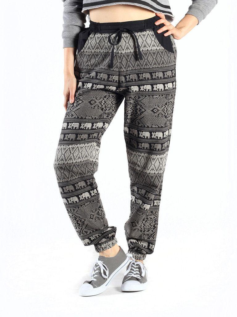 5b378f23859d Vita Women s Black and Gray Patterned Jogger Pants – The Elephant Pants