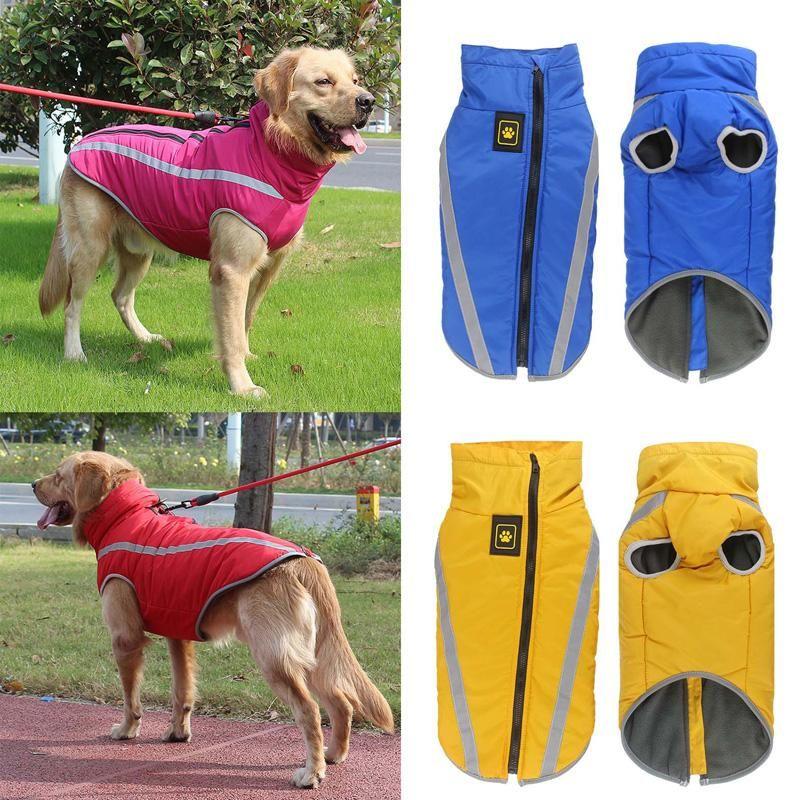 Waterproof Clothes Large Dogs Winter Warm Jackets Padded Fleece