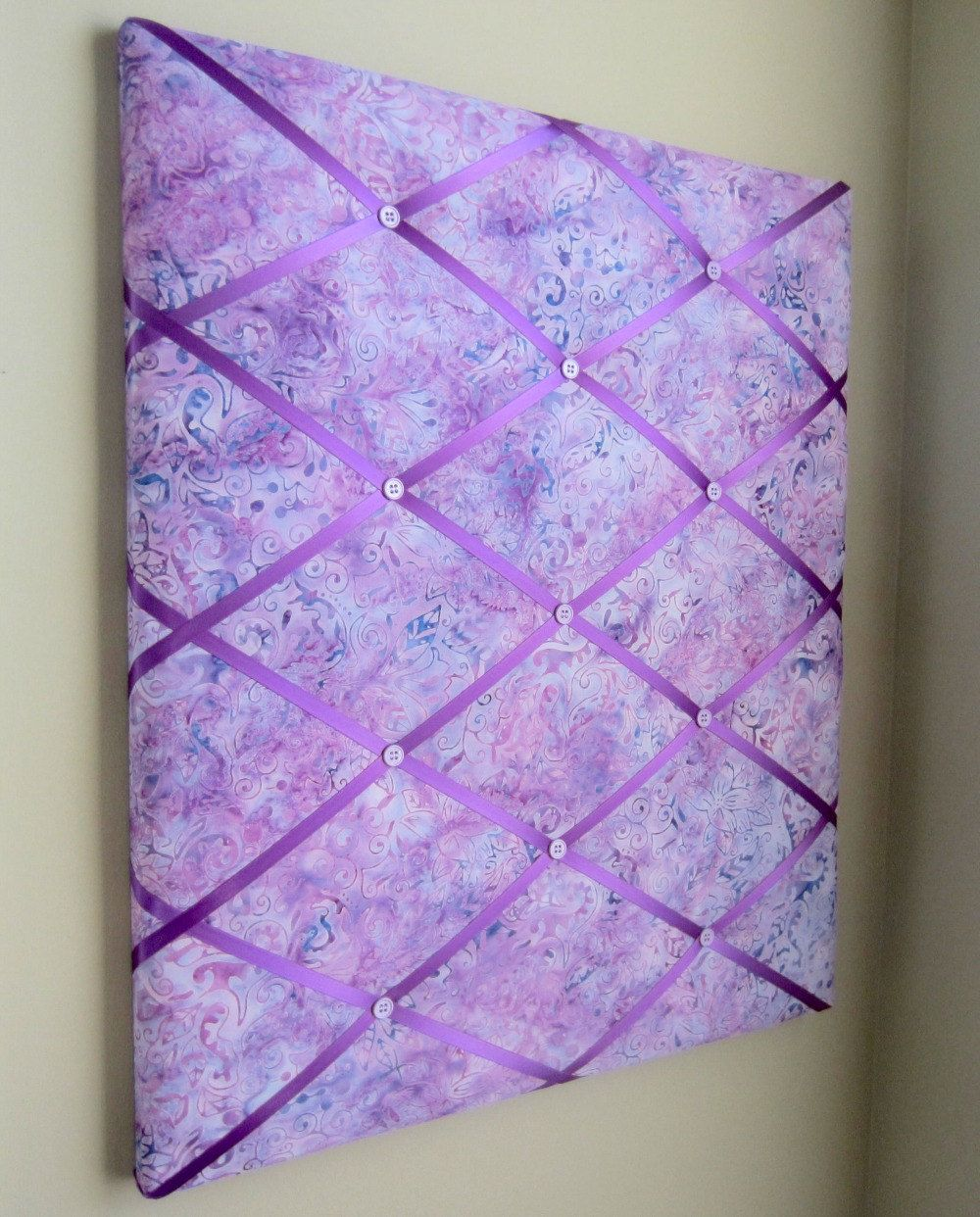 20x24 Radiant Orchid Lilac Batik Ribbon Memory Board French Memo