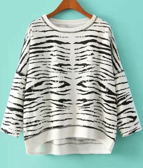 White+Long+Sleeve+Zebra+Loose+Sweatshirt+19.67