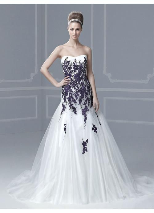 A-line Sweetheart Chapel Train Non Traditional Wedding Dresses with ...