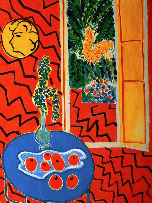 Matisse 1947 interieur rouge nature morte sur table for Interieur rouge matisse