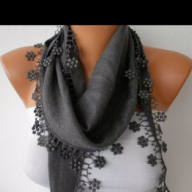 Gray Heart Pashmina Scarf, Necklace Cowl Scarf, LOVE,Gift Ideas For ...