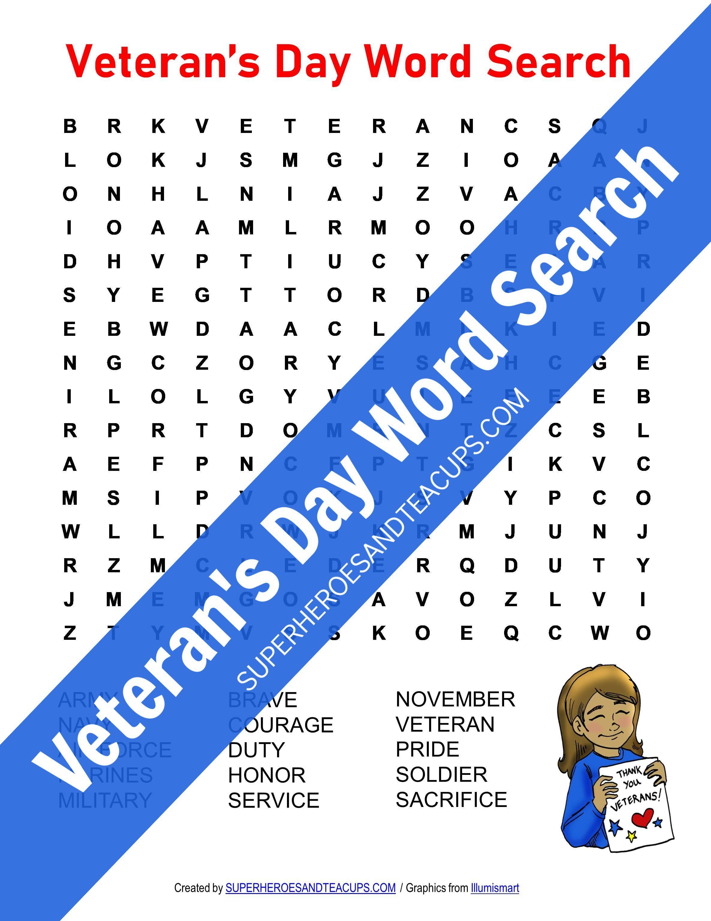 Veteran S Day Word Search Free Printable