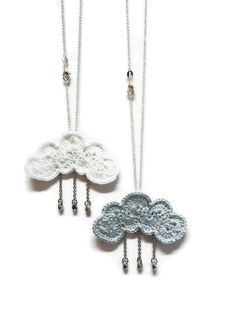 Cloud & rain drops pendants - adorable crochet jewelry by Khin Hnin https://www.etsy.com/transaction/104475556. No pattern, appears to be created with a short foundation chain and fans crocheted all the way around.