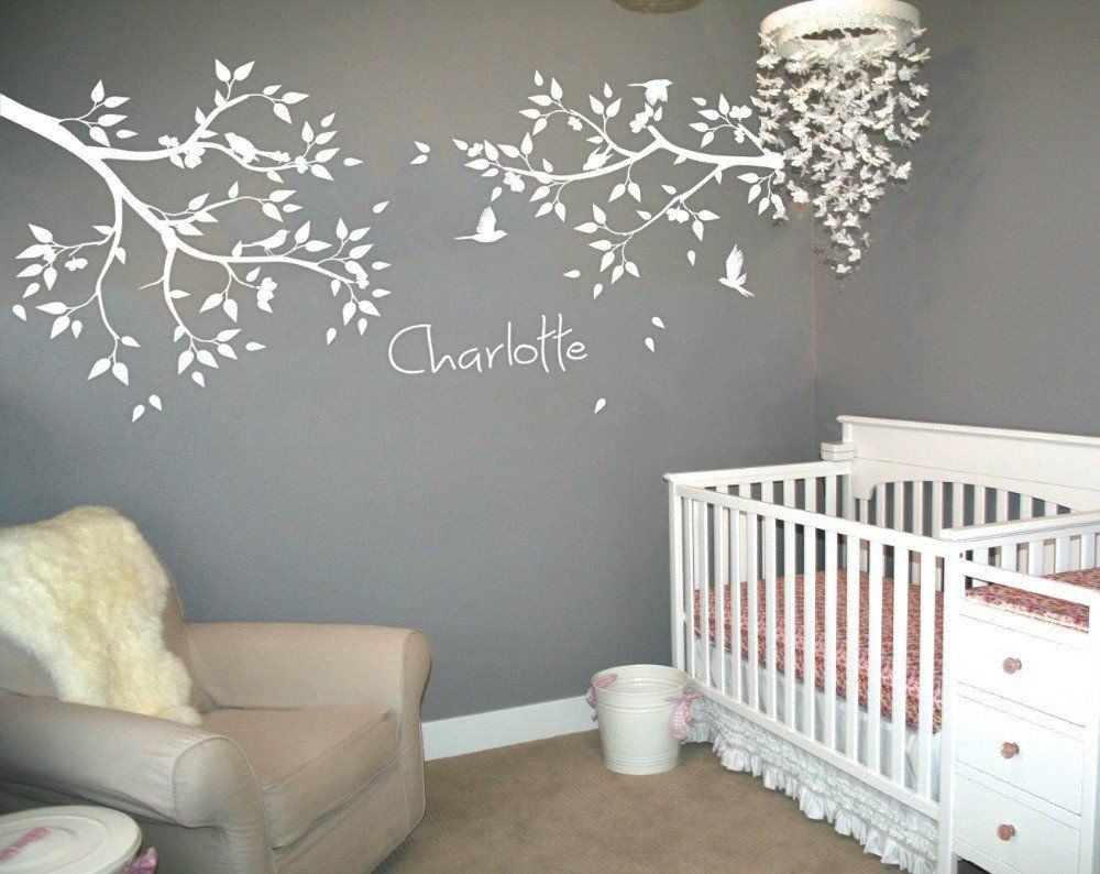 Best Personalized Name Large Tree Branches Wall Stickers Flying Birds White Tree Wall Decal Baby 400 x 300