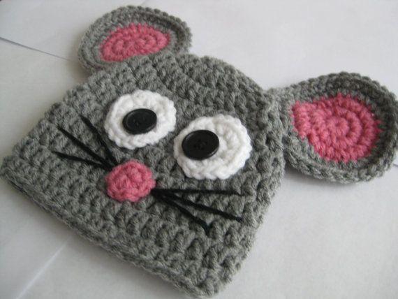 Crochet Mouse Hat | crochet hats | Crochet hats, Crochet