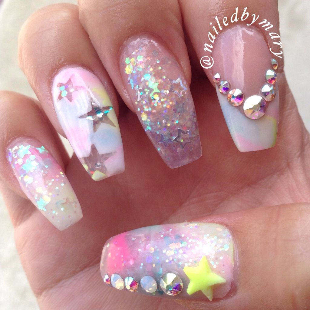 Colorful Rainbow Unicorn Stars Swarovski Crystals 3d Nail