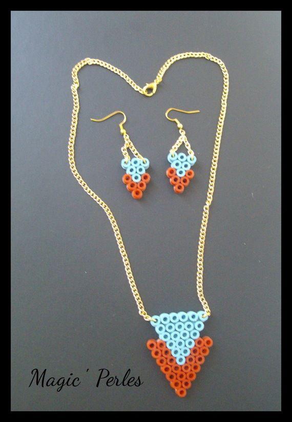 parure collier et boucles d 39 oreille tendance necklace and earrings hama perler by alice tobbi. Black Bedroom Furniture Sets. Home Design Ideas