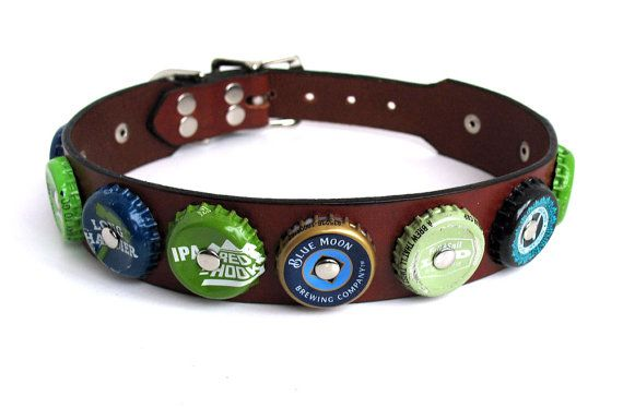 Leather Dog Collar with Blue & Green Bottle Caps by Greenbelts, $45.00