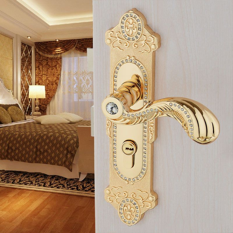صورة الترباس النسر المزيد من الصور المفصلة عن صورة European Mute Door Locks Solid Zinc Alloy Wood Handle Locks Gold Luxury European Style Indoor Door Handles