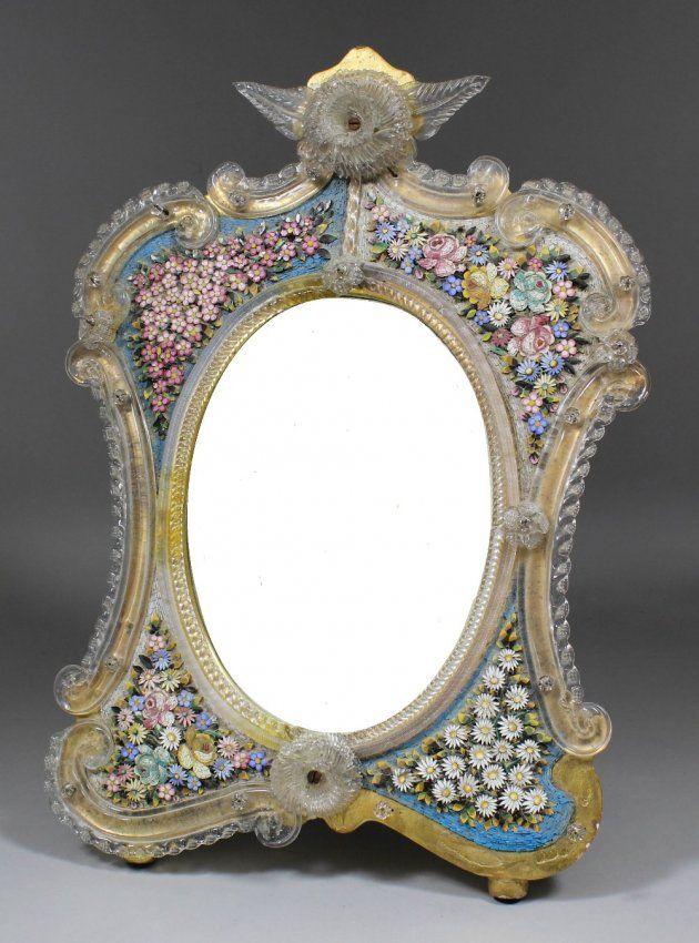 A Venetian gilt, glass and micro mosaic framed dressing : Lot 869