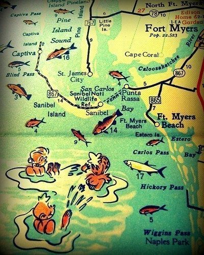Florida Map Fort Myers.Retro Ft Myers Florida Map Art 8x10 Sanibel Fl Map Print Ft Myers