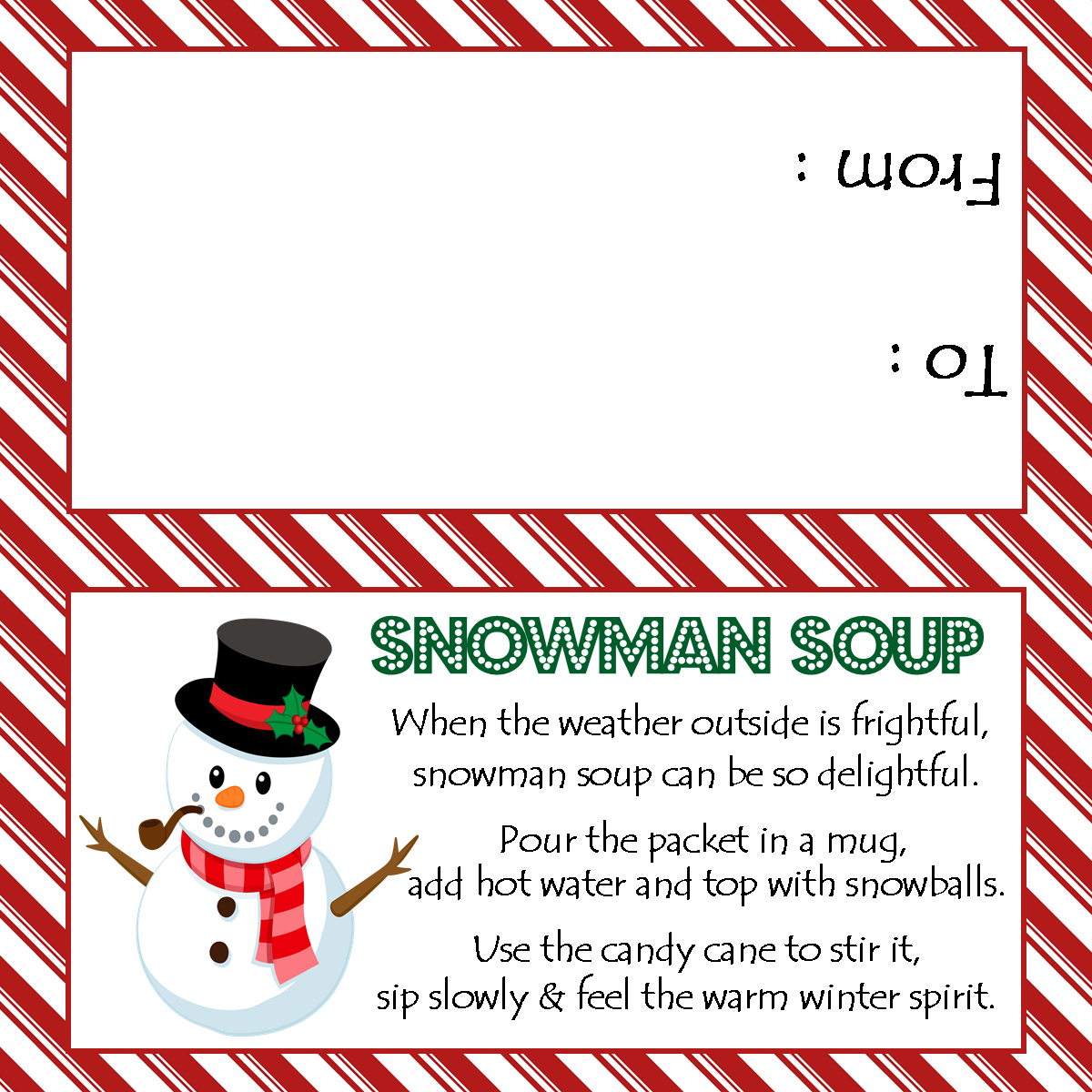 Effortless image intended for free printable snowman soup labels