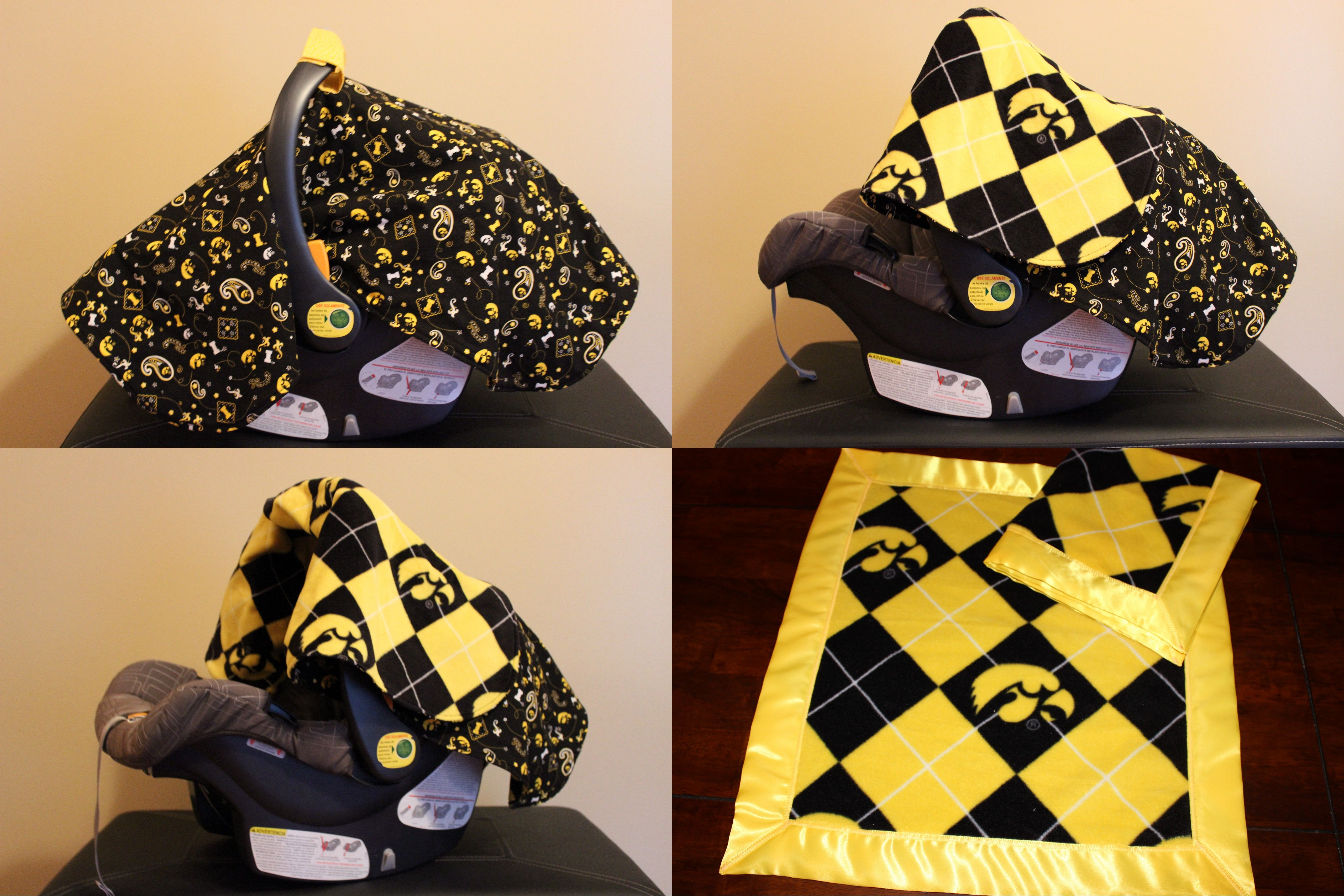 Gift To My Cousin In Law Iowa Hawkeyes Car Seat Cover And Matching Baby Blanket