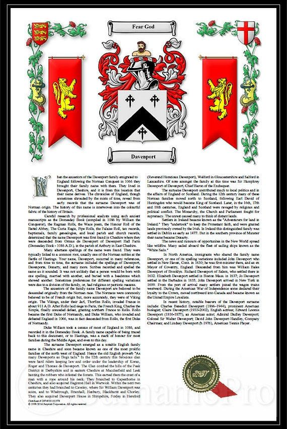 Premium Coat Of Arms Family Crest Seal Surname History Geneology