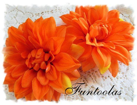 Darla  5 inch Silk Flower Orange Set of 2 by Funtoolas on Etsy, $3.50