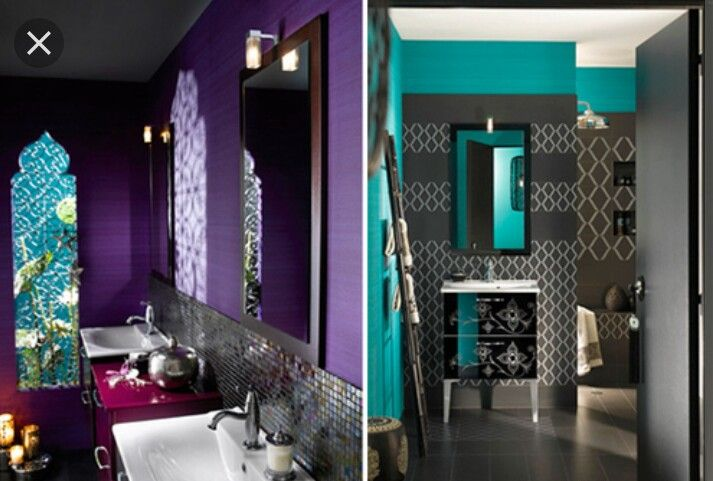 Moroccan Bathroom Decor Ideas Blue Deep, Purple And Green Bathroom Decor