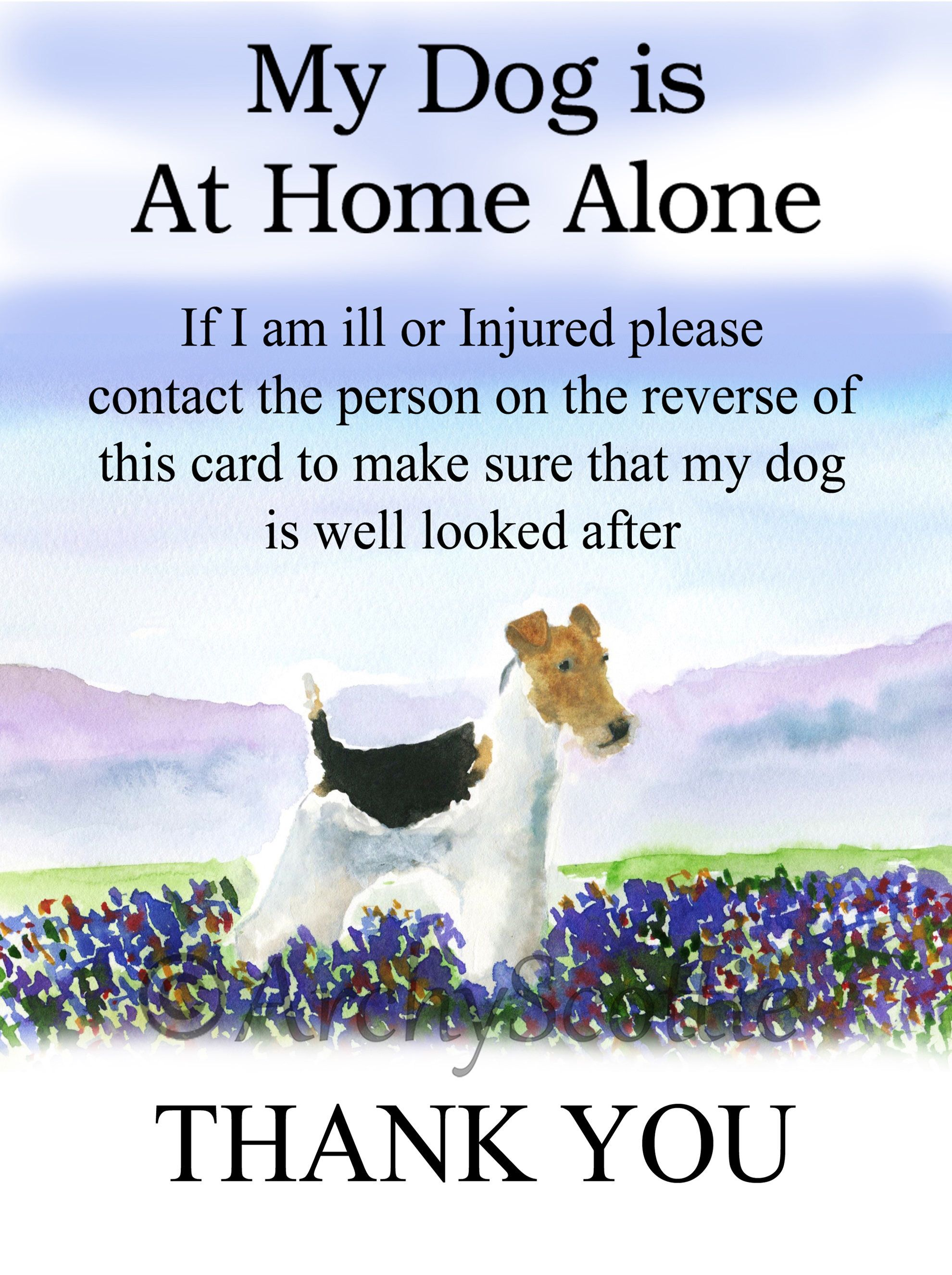 Wire Fox Terrier Dog Pet Alert Cards WALLET SIZE 2 cards