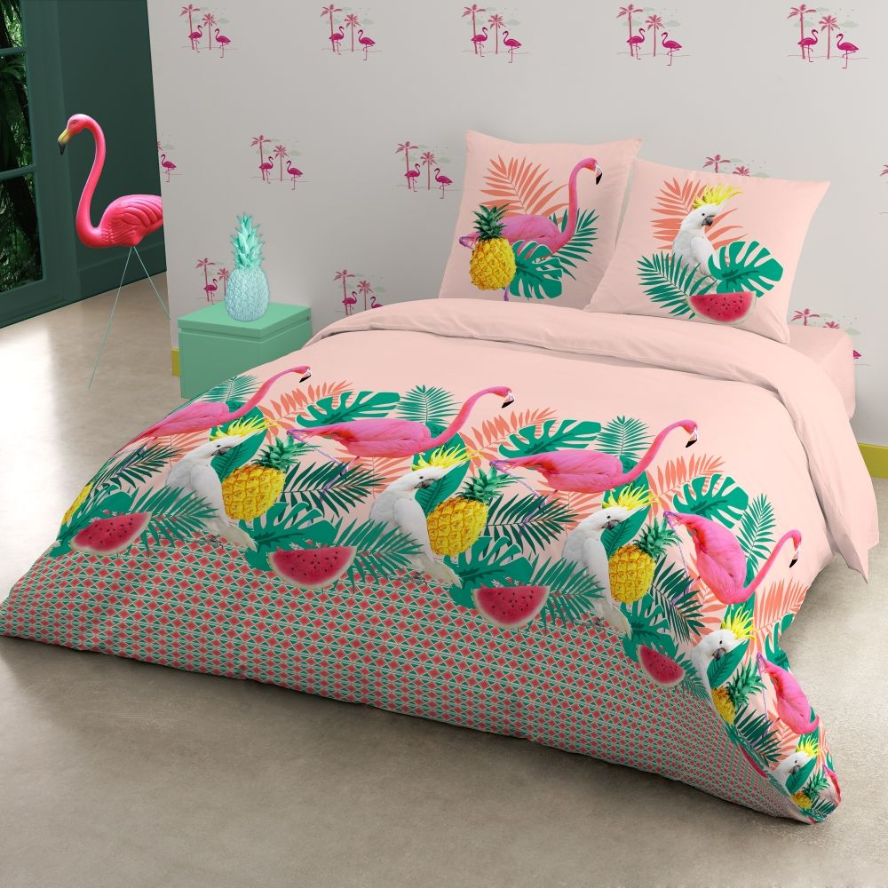 Parure lit flamingo polycoton flamingos pinterest for Housse de couette rose