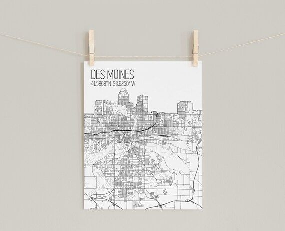 Details: Print - Unframed print on professional grade matte photo paper. Mailed in a protective tube. Not a digital file. Stretched Canvas - Mounted cotton canvas print. It includes hardware and is ready to hang.Modern minimalist map of Des Moines Iowa. Show love for your hometown or tell your story of adventure and travel with a unique modern map print. A special and personal gift for any traveler.© OpenStreetMap contributorsNeed some more inspiration for fully personalized map art and amazing