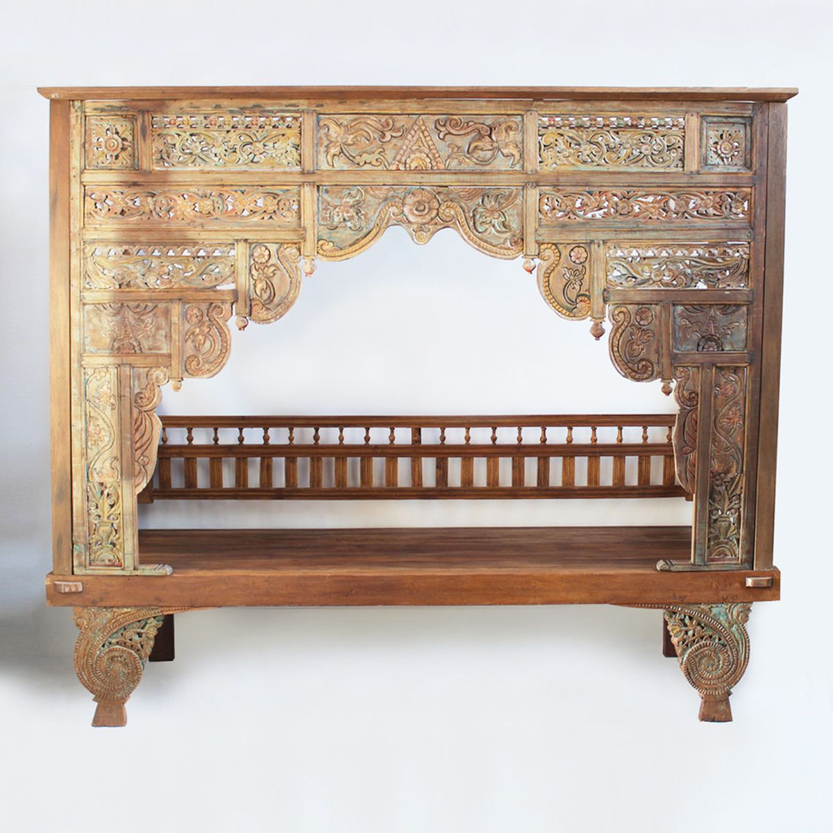 Patina style romantic bedroom - Original Balinese Carved Daybed Wedding Bed Beautifully Detailed Fa Ade With Original Patina Traditionally