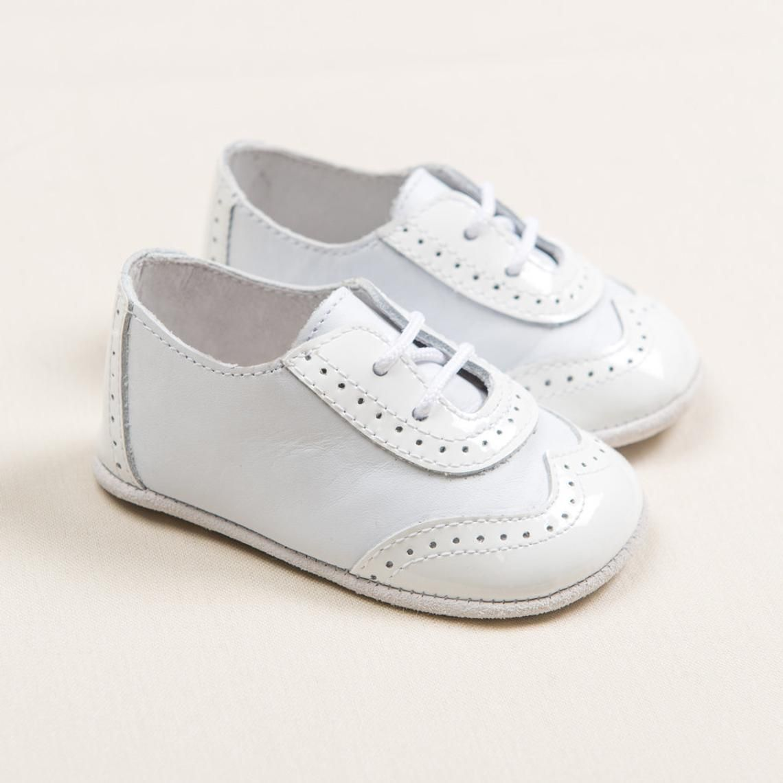 SAMPLE SALE - Baby Boys Leather Wingtip Shoes - White ...