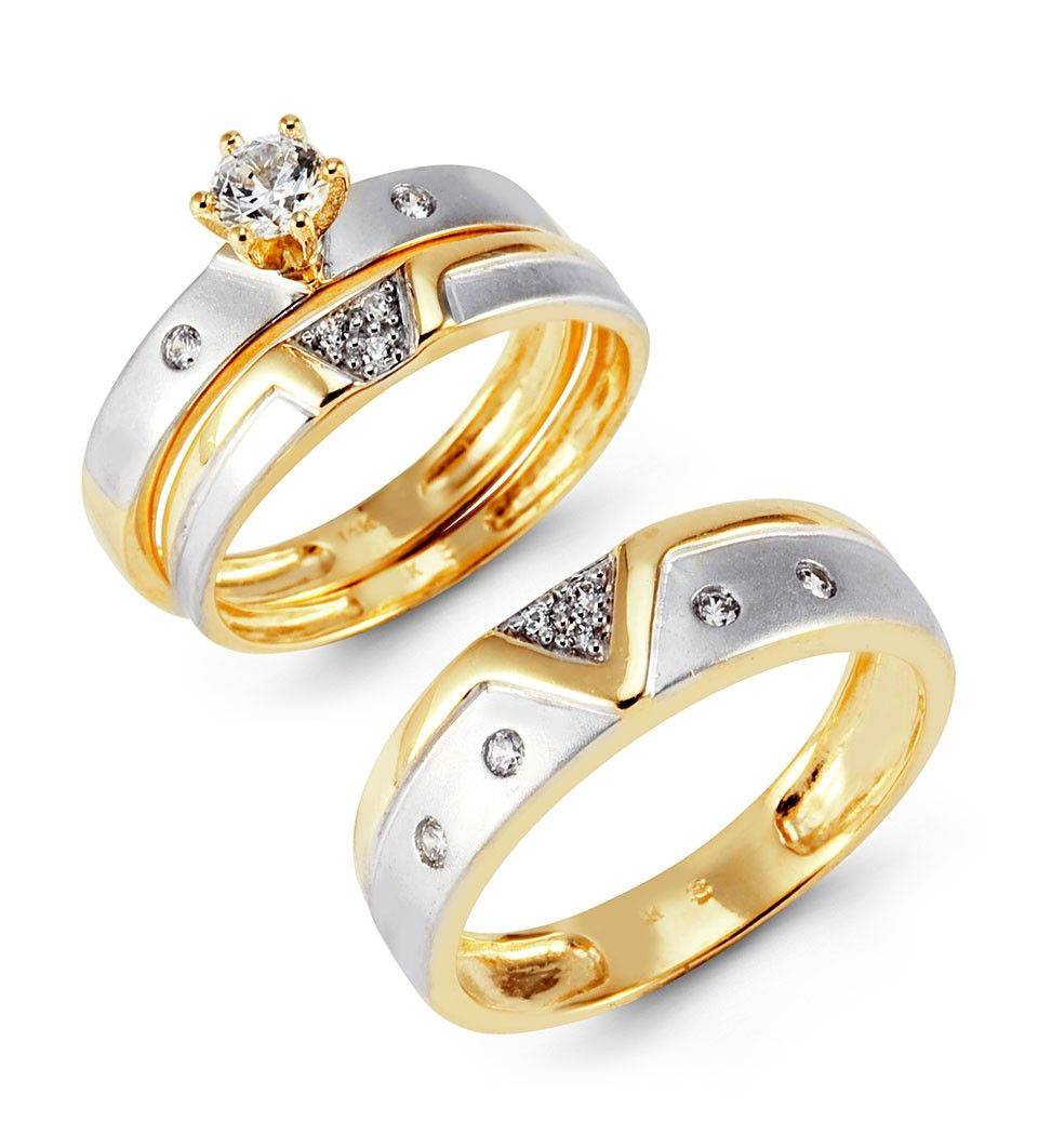 wedding rings Trio Wedding Ring Sets Yellow Gold Photo Ideas