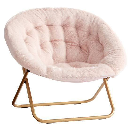 Iced Faux Fur Blush With Gold Base Hang A Round Chair