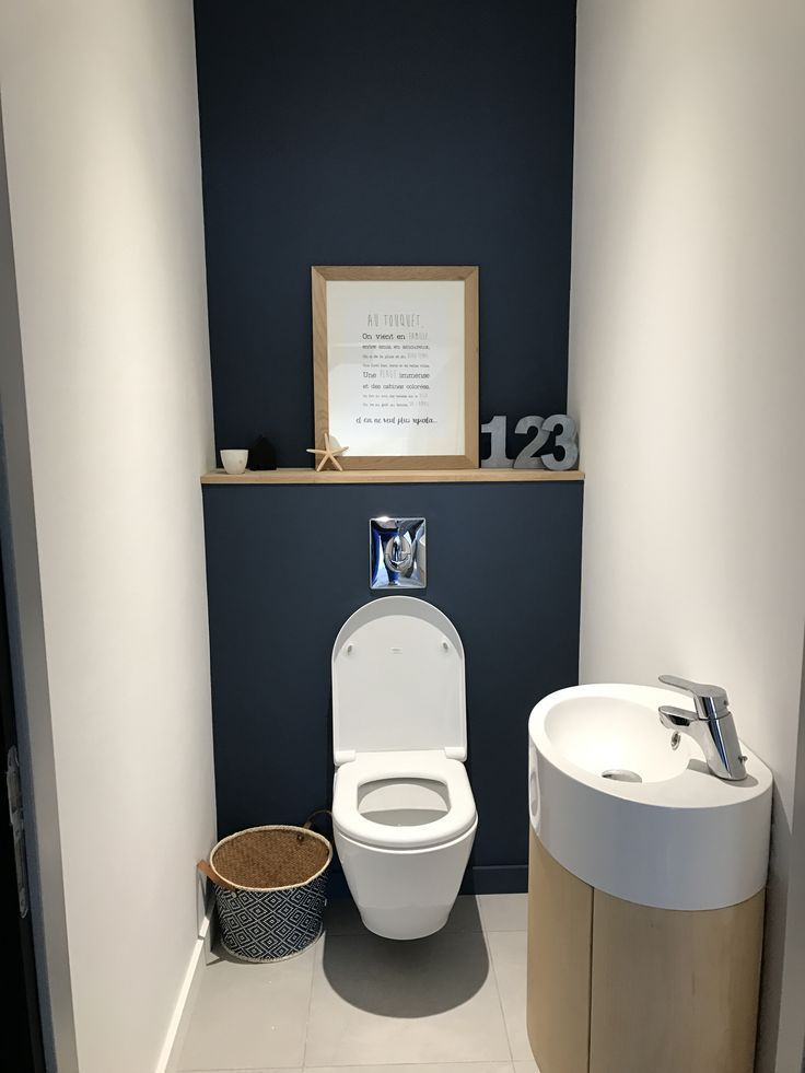 Love the blue colour! And the neatness of the built in cistern. And that sink is cool. Jamie-lee Bliss #smalltoiletroom