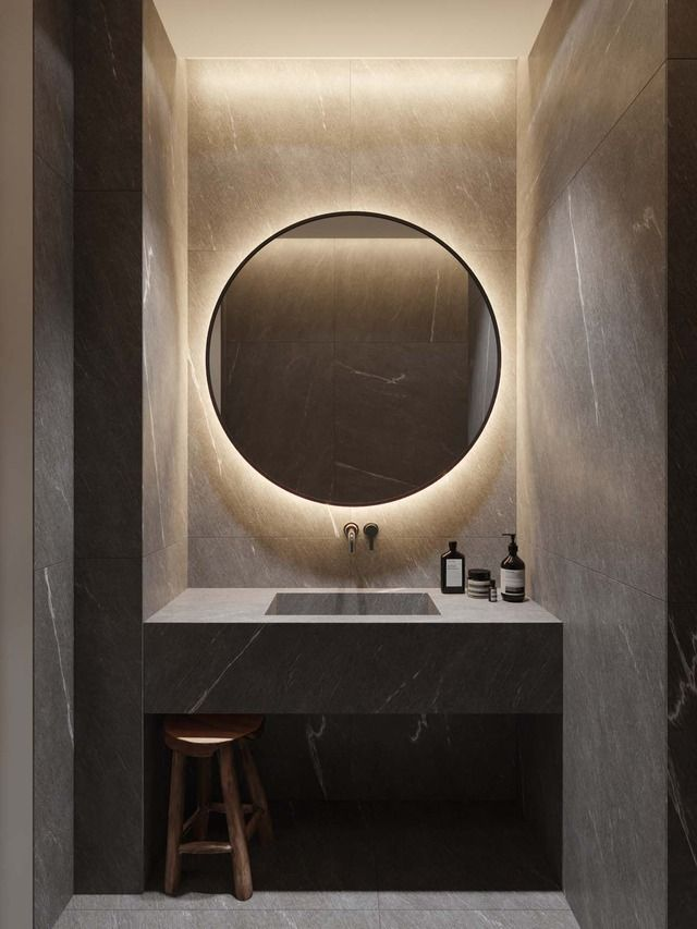 Ronde Spiegel Si Studiointerio Riel Brabant Design Interior Interieur Design Lig Bathroom Design Inspiration Bathroom Mirror Makeover Modern Bathroom