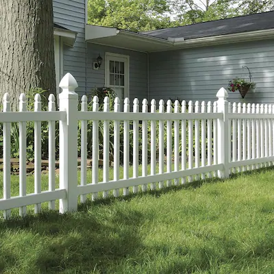 Freedom Pre Assembled Newport 3 Ft H X 8 Ft W White Vinyl Gothic Fence Panel Lowes Com In 2021 Vinyl Fence Panels White Vinyl Fence Vinyl Fence